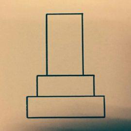 石塔を擬人化したイラストは断念。でも位牌型石塔というアイディアが浮かんだ。