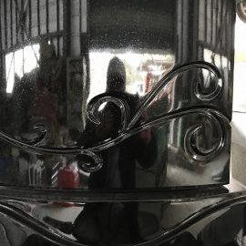 素敵なデザインのプレミアム墓石「優美」。明日彫刻いたします!!